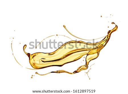Olive or engine oil splash isolated on white background, 3d illustration with Clipping path. #1612897519