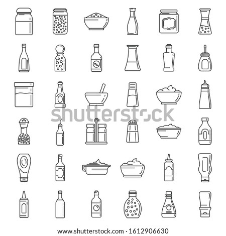 Condiment food icons set. Outline set of condiment food vector icons for web design isolated on white background Royalty-Free Stock Photo #1612906630