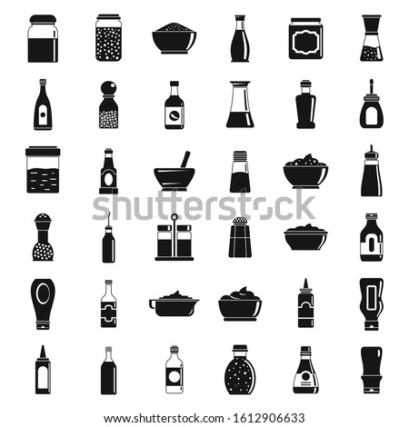 Condiment sauce icons set. Simple set of condiment sauce vector icons for web design on white background Royalty-Free Stock Photo #1612906633
