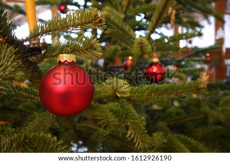 close up of a red christmas bauble on a christmas tree with candles and other baubles in the background #1612926190