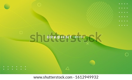 Abstract background with geometric shapes. Dynamic abstract composition Vector illustration. Design element for web banners, posters, green and yellow Royalty-Free Stock Photo #1612949932