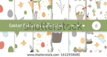 Vectors set of seamless patterns with design elements for Easter. Repeat backgrounds with cute bunny, children, colored eggs, chirping bird, chicks, baskets. Spring funny digital paper pack #1612958680