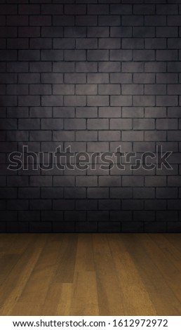 Brick wall backdrop with wooden planks floor in a portrait mode to use with your product or model photoshoot.