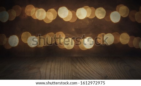 Glowing flashing lights background with wooden floor in landscape mode, made for TV use.  Ideal for product placement or your own titles