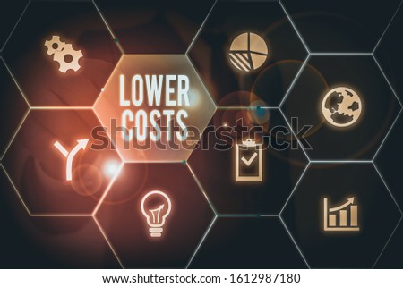 Writing note showing Lower Costs. Business photo showcasing the business sets low price to enhance theproduct deanalysisd.
