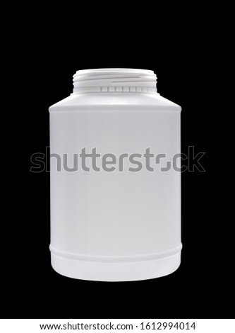 The opened plastic jar of white color Isolated on a black background #1612994014