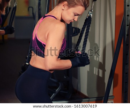 athletic caucasian female in gym front view #1613007619