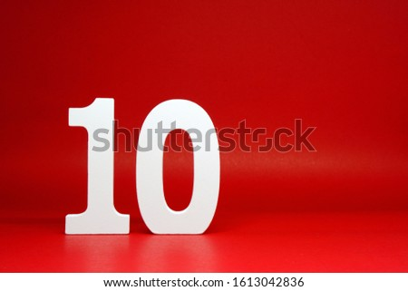 Ten ( 10 ) Percentage Isolated Red  Background with Copy Space - Discount 10% Safe Price Business finance promotion Concept #1613042836