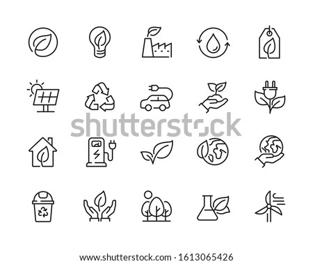 Eco friendly related thin line icon set in minimal style. Linear ecology icons. Environmental sustainability simple symbol. Editable stroke  #1613065426