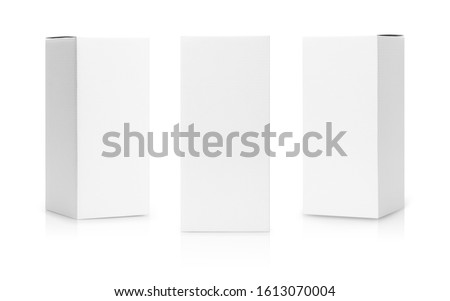 Set of White box tall shape product packaging in side view and front view isolated on white background with clipping path. #1613070004