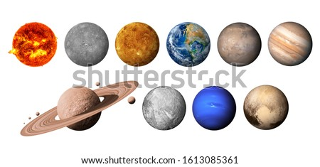 The solar system consists of the Sun, Mercury, Venus, Earth, Mars, Jupiter, Saturn, Uranut, Neptune, Pluto. isolated with clipping path on white background.Elements of this image furnished by NASA #1613085361