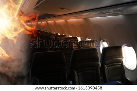 fire and smoke in the aircraft cabin #1613090458