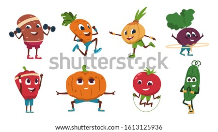 Cartoon vegetables exercises. Healthy food characters doing fitness activities and sport workout. Vector cute and funny vegetable set drawing food happy flat fresh character #1613125936