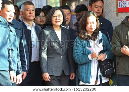 Taipei city, Taiwan - Jan 11, 2020:Tsai Ing-wen,President of the Taiwan. (the woman at the middle of the picture ) She queued up to vote with people for 2020 Taiwan president election. #1613202280