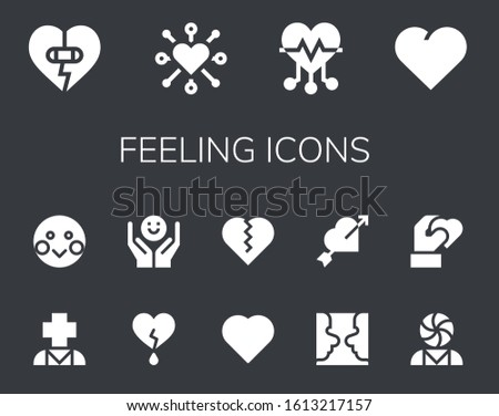 feeling icon set. 14 filled feeling icons.  Simple modern icons such as: Heart, Psychology, Shy #1613217157