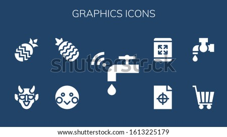 graphics icon set. 9 filled graphics icons.  Simple modern icons such as: Faucet, Shy, Pineapple, Hannya, Shopping cart, Tap, Printing test, Maximize #1613225179