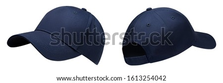 Blue baseball cap in angles view front and back. Mockup baseball cap for your design Royalty-Free Stock Photo #1613254042