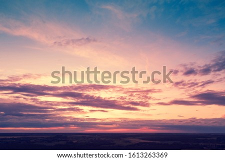 Colorful cloudy sky at sunset. Evening sky texture, abstract nature background #1613263369