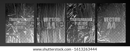 vector illustration. texture transparent stretched film polyethylene. vector design element graphic rumpled plastic warp #1613263444
