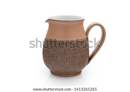 Denby Cotswold Pattern Earthenware Milk Jug Antique Vintage (1975-1985) English Pottery Ceramic Jug Brown on 255 White Background with Clipping Work Path included in JPEG