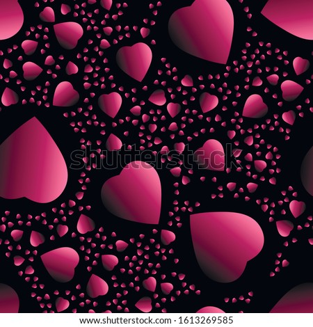 Rose gradient hearts at black background. seamless background. Royalty-Free Stock Photo #1613269585