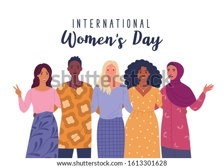 International Women's Day. Vector illustration of five happy smiling diverse women standing together. Isolated on white Royalty-Free Stock Photo #1613301628