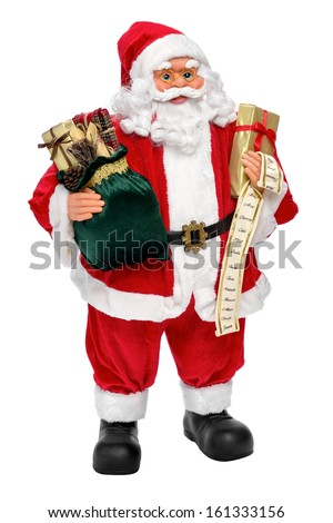 Santa Claus doll with presents and name list, isolated on white background #161333156