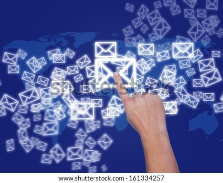 hand touching virtual screen #161334257
