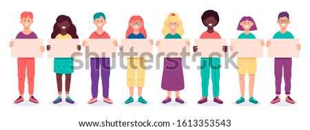 Group of young people holding empty banners. Smiling male and female characters demonstrating empty placards isolated vector illustration set #1613353543