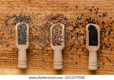 Useful seed. Proper nutrition with the addition of seeds. Chia seeds. Flax seeds. sesame seeds. #1613379580