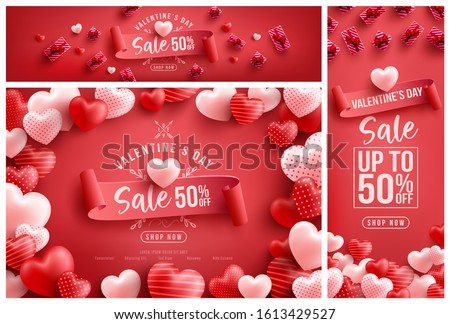 Valentine's Day Sale 50% off Poster or banner with many sweet hearts and sweet gifts on red background.Promotion and shopping template or background for Love and Valentine's day concept #1613429527