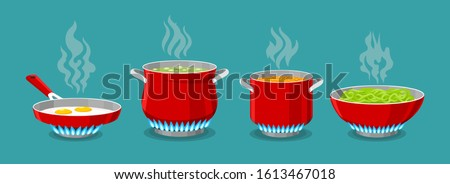 Cooking pot and pan on gas stove. Boiled water in pots, pasta in saucepan and scrambled eggs in dripping pan, vector illustration for kitchen cook #1613467018