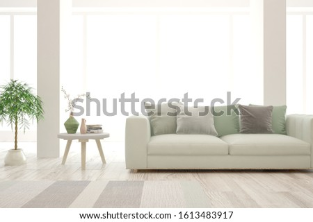Stylish room in white color with sofa. Scandinavian interior design. 3D illustration #1613483917