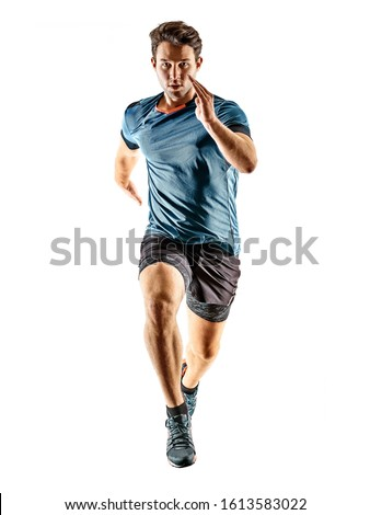 one caucasian runner running jogger jogger young man in studio isolated on white background #1613583022