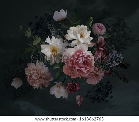 Floral vintage bouquet of peonies, garden flowers, decorative herbs on black background. Template for wedding invitations, holiday greetings, business card, decoration packaging, interior design #1613662765