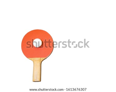 Racket and ping-pong ball in an upright position #1613676307