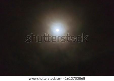 full moon. Photo taken at night. Soft focus. Tinted. #1613703868