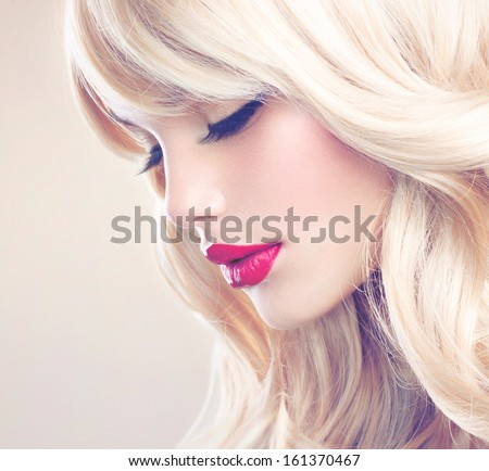 Beauty Girl with Blonde Hair. Beautiful Blond Model Woman Close up Portrait. Perfect Face, clean skin. Soft Photo #161370467