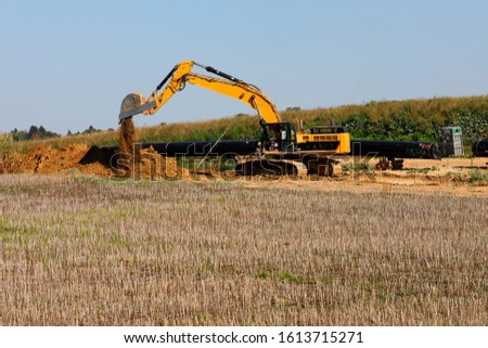 Pipe laying pipeline, natural gas pipelines, construction work, Bavaria, Germany, Europe  #1613715271