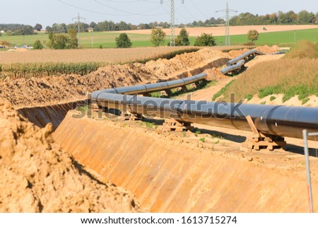 Pipe laying pipeline, natural gas pipelines, construction work, Bavaria, Germany, Europe  #1613715274