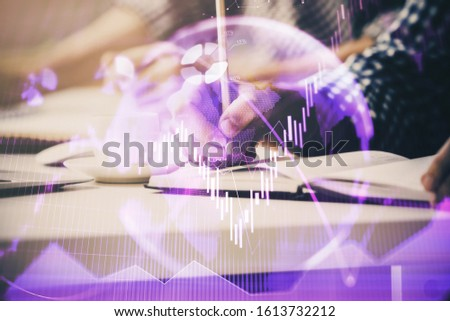 Multi exposure of two men planing investment with stock market forex chart. #1613732212