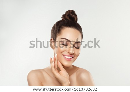 Portrait of  woman with beauty face and perfect skin  on white background. Skin care. Cosmetology, beauty and spa. #1613732632