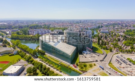 Strasbourg, France. The complex of buildings is the European Parliament, the European Court of Human Rights, the Palace of Europe, Aerial View   #1613759581