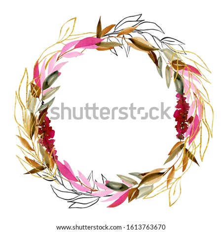 Wreath of watercolor branches in crimson, brown and golden colors; hand drawn isolated on white background; floral decoration to wedding or other celebratory design, one line flowers and plants design