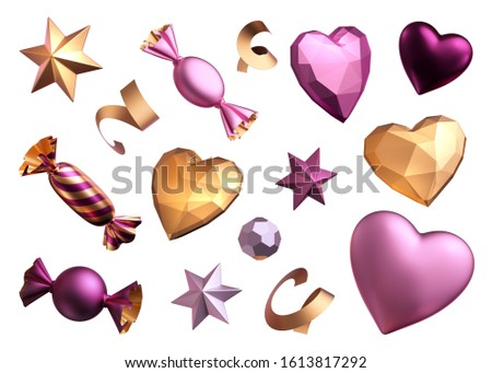 3d render, assorted festive clip art: sweets candies wrapped chocolates bonbon stars serpentine hearts stars. Objects isolated on white background, romantic design elements. Valentine's day concept