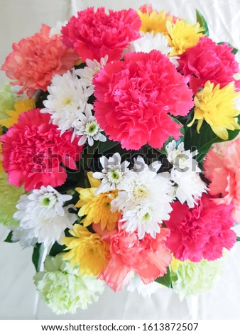 Close up of beautiful bouquet flowers.  bouquet flowers #1613872507