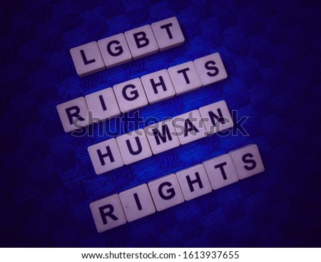 LBGT Right, Human Right, word cube with background. #1613937655