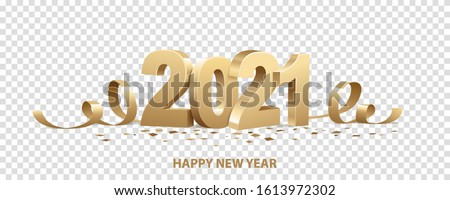 Happy New Year 2021. Golden 3D numbers with ribbons and confetti , isolated on transparent background.  Royalty-Free Stock Photo #1613972302