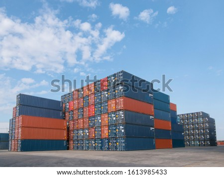 Industrial container yard for logistic import export business, International shipping logistics. #1613985433