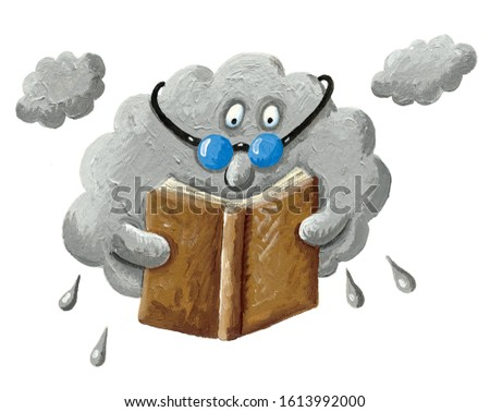 Acrylic illustration of the gray rain cloud is holding a book and enjoys reading book